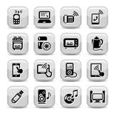 被设置的电子设备图标 免版税库存照片
