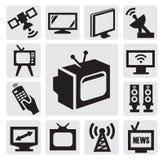 被设置的电视图标 免版税库存照片