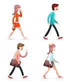 被设置的男女怪杰行家女孩人葡萄酒妇女字符步行手机旅行包象隔绝了减速火箭的动画片 皇族释放例证