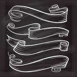 被设置的白垩图表ribbones 库存图片