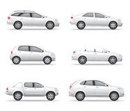 被设置的白色汽车 免版税库存照片