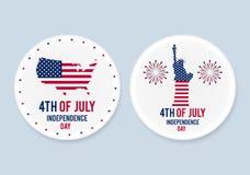 被设置的白色钢爱国别针徽章 7月4日 美国的独立日 现实大模型 图库摄影
