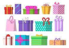 被设置的礼物盒 平的设计 也corel凹道例证向量 免版税库存图片