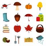 被设置的秋天象,平的ctyle 免版税库存图片