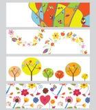 被设置的秋天水平的横幅 免版税库存照片