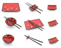 被设置的筷子东方牌照 免版税图库摄影