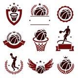 被设置的篮球标签和象 向量 免版税库存照片