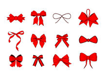 被设置的红色丝带弓 3d收集设计要素高图标质量向量 在白色的传染媒介例证 图库摄影