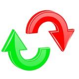 被设置的红色和绿色箭头 在圆周运动的发光的3d网象 回收符号 免版税库存图片