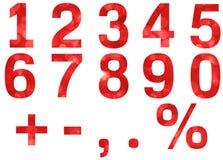 被设置的红色bokeh数字 免版税库存照片