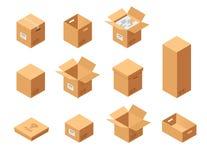 被设置的纸盒包装的箱子 等轴测图 另外大小和格式 在白色背景的闭合和开放包裹 图库摄影