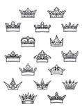 被设置的纹章学国王和女王/王后冠 库存图片