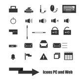 被设置的网、个人计算机和流动象 免版税库存图片