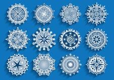 被设置的美丽的3d雪花 免版税库存照片