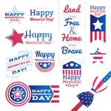 被设置的美国全国庆祝徽章 免版税库存照片