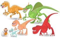 被设置的肉食收集恐龙 库存照片