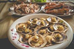 被设置的自创海鲜午餐(在仅扇贝的焦点) 库存图片