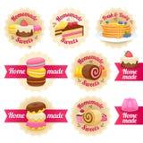被设置的自创甜点标签徽章 免版税图库摄影