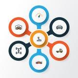 被设置的自动五颜六色的概述象 棚子、汽车、水平和其他元素的汇集 并且包括标志例如 库存例证