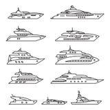 被设置的船和小船,乘快艇稀薄的线象集合 向量 向量例证