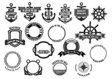 被设置的船舶和海洋标志传染媒介象 向量例证