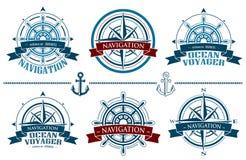 被设置的船舶商标 库存例证
