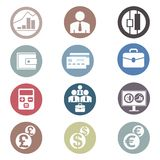 被设置的色的财政象 免版税库存图片