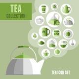 被设置的茶图标 免版税库存照片