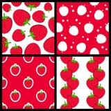 被设置的草莓无缝的样式 免版税库存图片