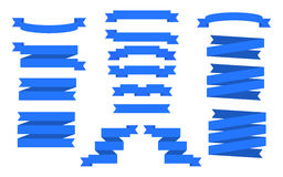 被设置的蓝色丝带 向量横幅 免版税库存照片