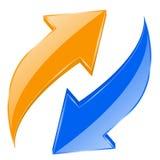 被设置的蓝色和橙色箭头 发光的3d网象 回收符号 免版税库存图片
