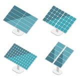 被设置的蓝色太阳电池板 平等量 现代供选择的Eco绿色能量 库存图片