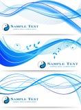 被设置的蓝色波浪抽象横幅 免版税库存图片