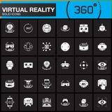 被设置的虚拟现实坚实象 创新技术, AR玻璃,坚硬登上的显示, VR赌博设备 现代平的设计v 免版税库存照片