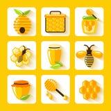 被设置的蜂蜜平的象 免版税库存照片