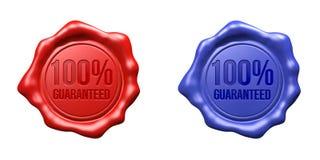 被设置的蜡封印(红色,蓝色) -保证的100% 库存图片