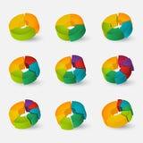 被设置的被分割的和多彩多姿的圆图 库存图片