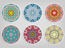 被设置的装饰圆的装饰品,被隔绝的设计元素 免版税库存图片