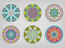 被设置的装饰圆的装饰品,被隔绝的设计元素 免版税库存照片
