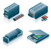 被设置的计算机硬件图标 免版税库存照片