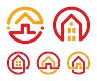 被设置的议院抽象商标 红色和黄色异常的线性房地产机构象收藏 地产商商标 家庭图标 免版税库存照片