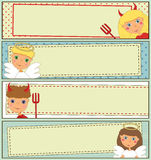 被设置的设计:孩子万圣夜横幅 免版税库存照片
