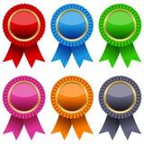 被设置的证书五颜六色的丝带 库存图片
