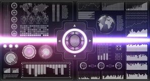 被设置的证明扫描器 在未来派样式的手指扫描 与未来派HUD接口的生物统计的id 屏幕显示器背景 库存图片