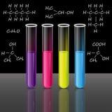 被设置的试管 配方 科学和教育传染媒介 向量例证