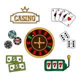 被设置的赌博娱乐场和赌博的象 向量例证