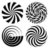 被设置的辐形螺旋光芒 传染媒介荧光的例证 扭转的自转作用 打旋的单色形状 黑色和 皇族释放例证