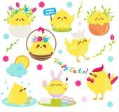 被设置的逗人喜爱的动画片鸡 在蛋anf的复活节鸡开花,唱,绘和获得乐趣 复活节des的被隔绝的剪贴美术 库存例证