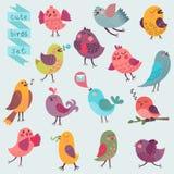 被设置的逗人喜爱的动画片鸟 免版税库存照片