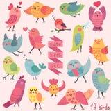 被设置的逗人喜爱的动画片鸟 免版税库存图片